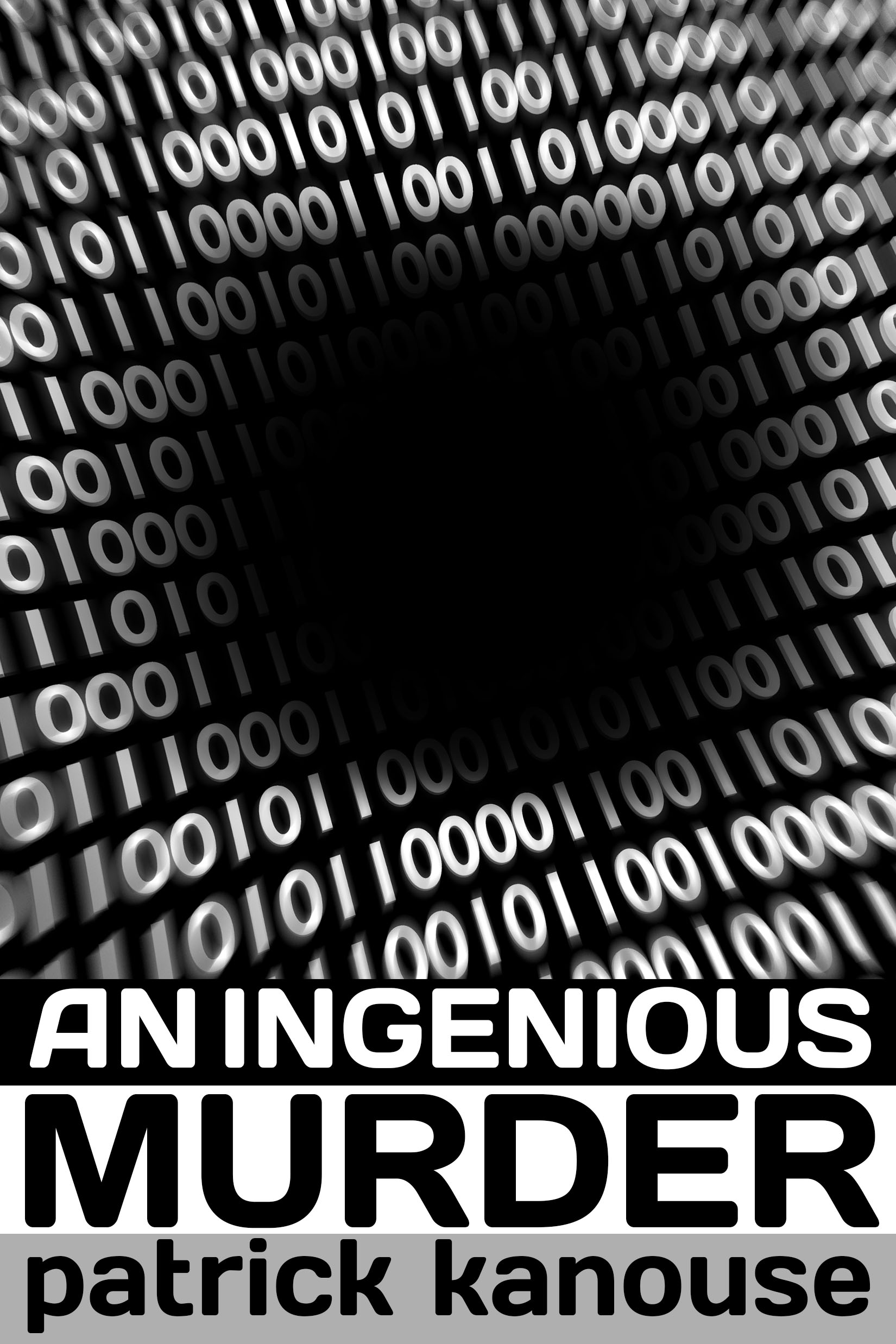 Image of cover for An Ingenius Murder below a black hole surrounded by ones and zeros.